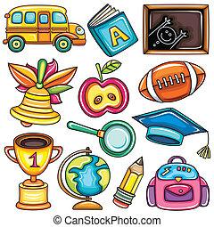 ikony, barwny, szkoła