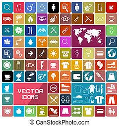 ikony, barwny, zaokrąglony, kwadraty, komplet, wektor, płaski