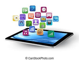 ikony, barwny, zastosowanie, vector., tablet.
