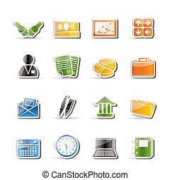 ikony, biuro, handlowy, prosty
