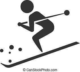 ikony, bw, -, narciarstwo