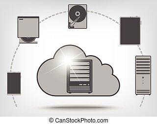 ikony, chmura, obliczanie