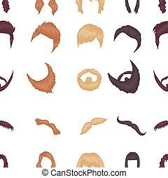 ikony, cielna, symbol., zbiór, style., wektor, ilustracja, próbka, rysunek, broda