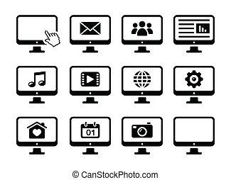 ikony, czarnoskóry, komputer, komplet, ekran