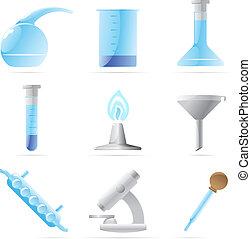 ikony, dla, chemiczny lab
