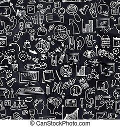 ikony, doodle, seamless, chalkboard, próbka, seo