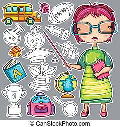 ikony, doodle, szkoła
