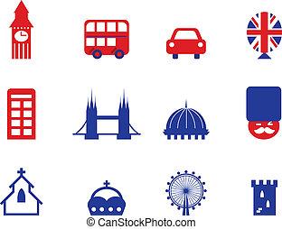 ikony, elementy, londyn, odizolowany, projektować, angielski, &, biały