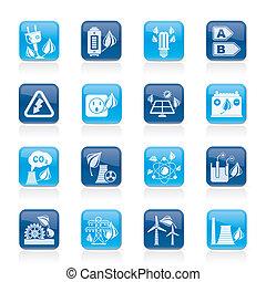ikony, energia, zielony, środowisko