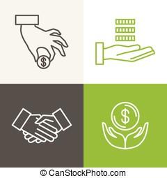 ikony, finanse, wektor, bankowość