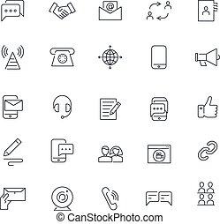ikony, garść, set., komunikacja, wektor, pack., kreska