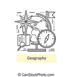 ikony, geography., nowoczesny, kreska, cienki