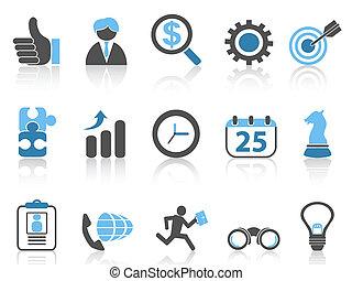 ikony, handlowy błękitny, komplet, seria