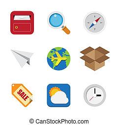 ikony, handlowy, komplet, ilustracja, interfejs, eps10, ...