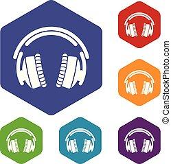 ikony, hexahedron, wektor, słuchawki