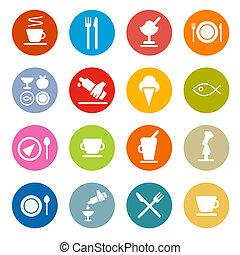 ikony, jadło, barwny, -, komplet, koło, wektor, projektować, płaski, restauracja