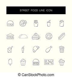 ikony, jadło, set., ulica, kreska, pack.