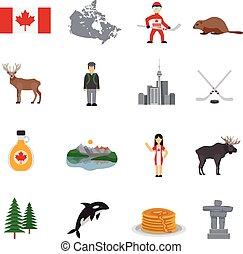 ikony, kanada, płaski, komplet