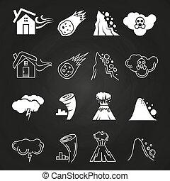 ikony, kasownik, chalkboard, nieszczęście