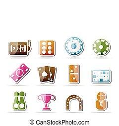 ikony, kasyno, -, wektor, hazard