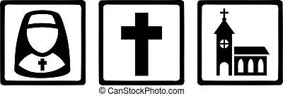 ikony, kościelny krzyż, zakonnica, znaki, religijny