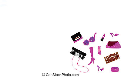 ikony, kobiety, (, mnóstwo, -, obuwie, ), przybory, różowy