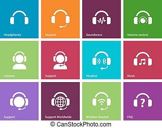 ikony, kolor, słuchawki, tło.