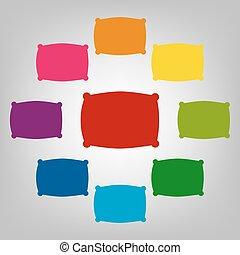 ikony, komplet, colorfull