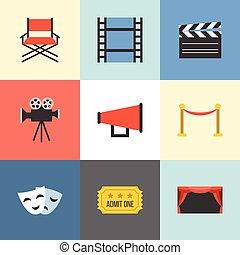 ikony, komplet, film, wektor, projektować, płaski