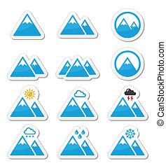 ikony, komplet, góra, wektor