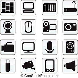ikony, komplet, media