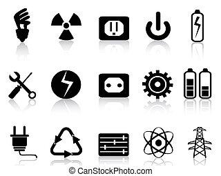 ikony, komplet, moc, elektryczność