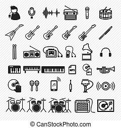 ikony, komplet, muzyka, ilustracja, 1.