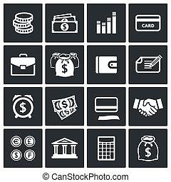 ikony, komplet, pieniądze finansują