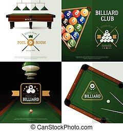 ikony, komplet, pojęcie, bilard
