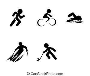 ikony, komplet, sport, triathlon