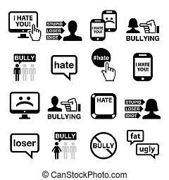 ikony, komplet, wektor, cyberbullying