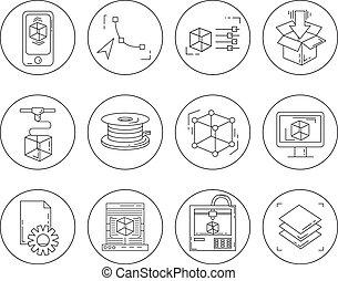 ikony, komplet, -, wektor, ikony, w, linearny, styl
