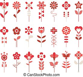 ikony, komplet, wektor, kwiat