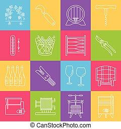 ikony, komplet, wino, winemaking, degustacja
