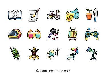 ikony, komplet, wolny czas, eps10, hobby