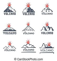 ikony, komplet, wybuch, ilustracja, wektor, tło, wulkan,...