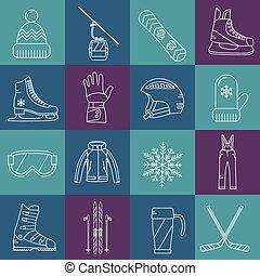 ikony, komplet, zima zabawa