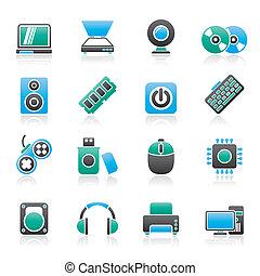 ikony, komputer, urządzenia, strony