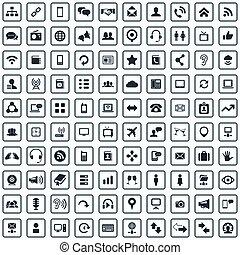 ikony, komunikacja, 100