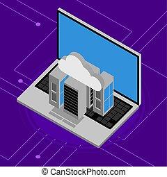 ikony, laptop, obliczanie, urządzenie obsługujące, chmura, 3d