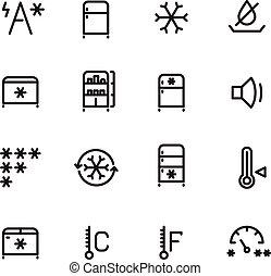 ikony, lodówka, lód, maszyna, wektor, cienka lina, zamrażarka