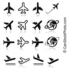 ikony, lot, lotnisko, komplet, samolot