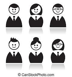ikony, ludzie handlowe, komplet, avatars