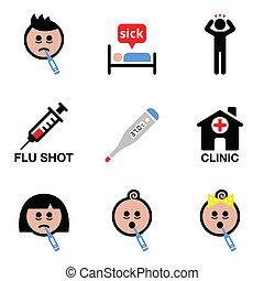 ikony, ludzie, przeziębienie, chory, grypa, wektor